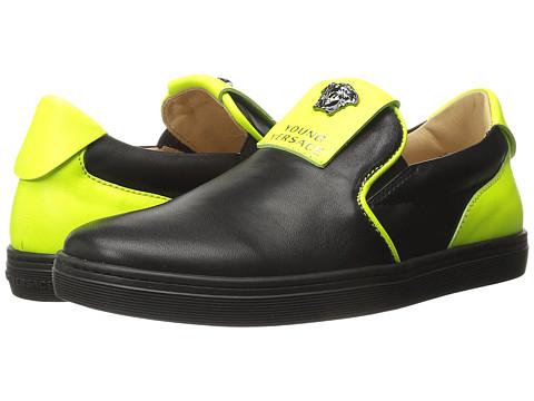 Versace Kids Slip-On Sneakers w/ Medusa Logo Detail (Little Kid/Big Kid) - Black/Green