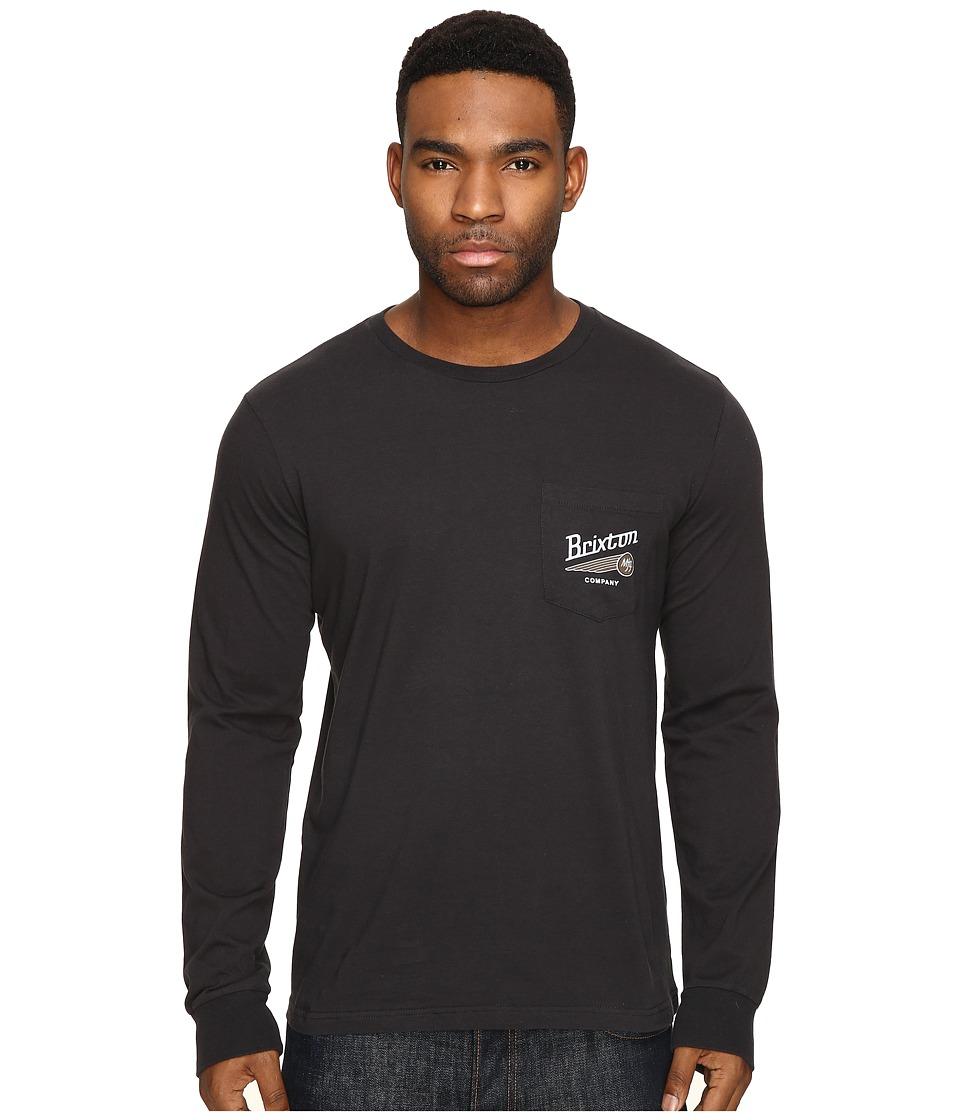 Brixton Maverick Long Sleeve Pocket Tee (Washed Black) Men