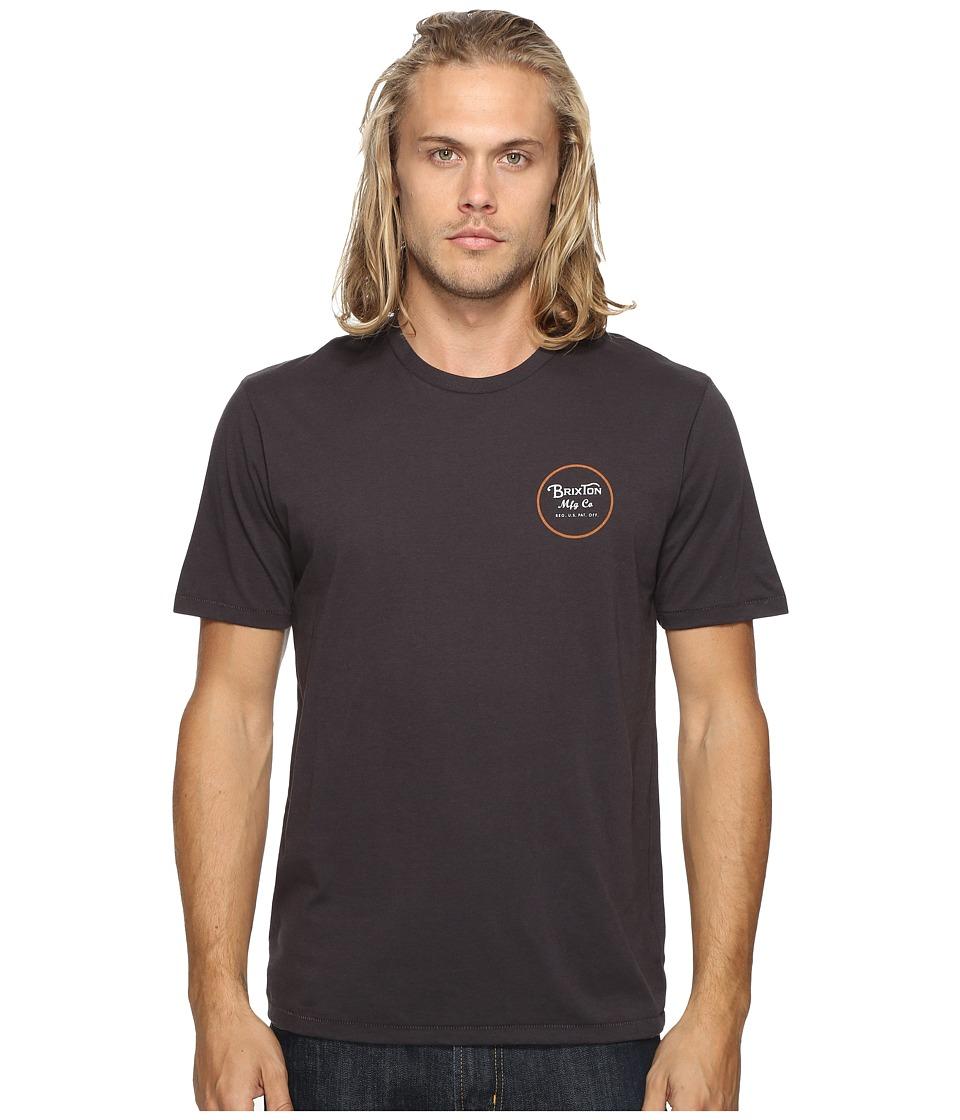 Brixton Wheeler II Short Sleeve Premium Tee (Washed Black) Men