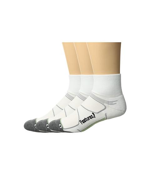 Feetures Elite Max Cushion Quarter 3-Pair Pack - White/Black