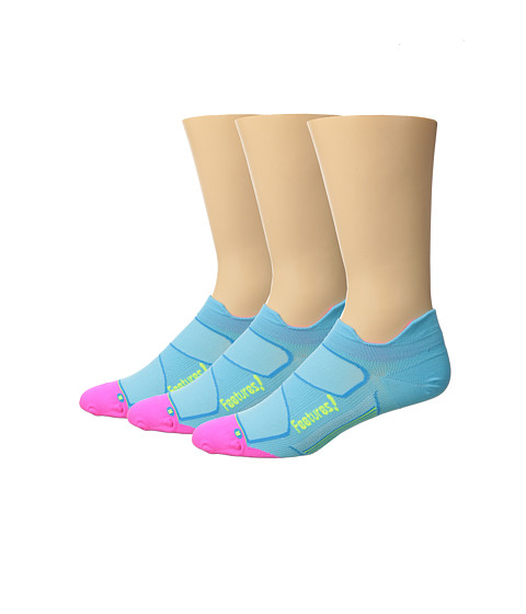 Feetures Elite Ultra Light No Show Tab 3-Pair Pack - Sky Blue/Reflector