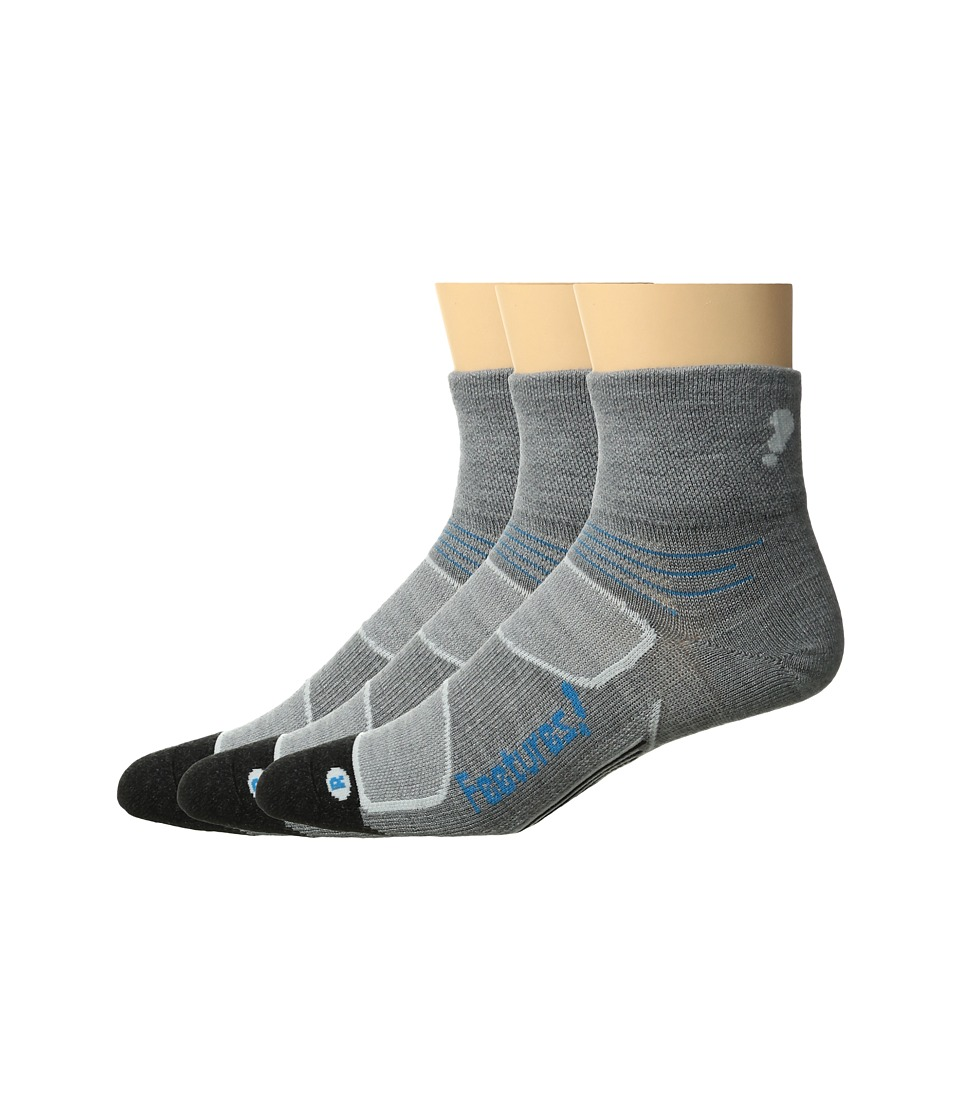Feetures - Elite Merino+ Ultra Light Quarter 3-Pair Pack (Gray/Hawaiian Blue) Quarter Length Socks Shoes