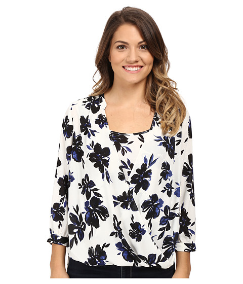NYDJ Petite Petite Drape Front Blouse with Built in Cami - Fair Lady Floral