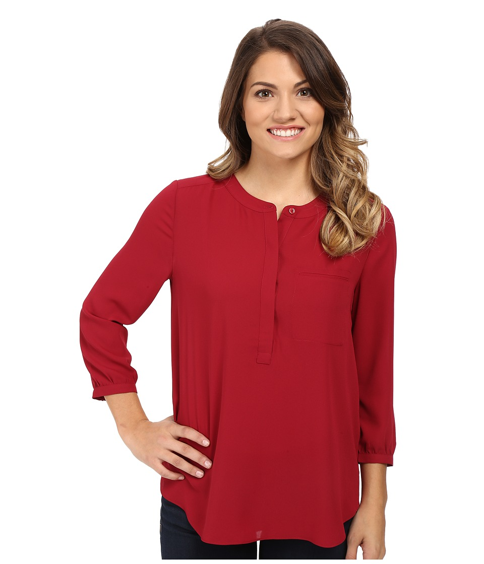 NYDJ Petite - Petite Solid 3/4 Sleeve Pleat Back (Carmine) Women
