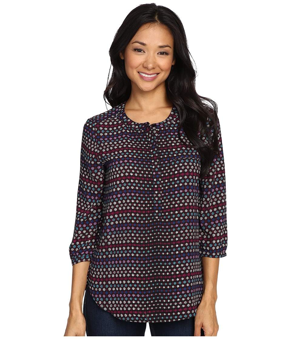NYDJ Petite - Petite Solid 3/4 Sleeve Pleat Back (Fox Dots) Women