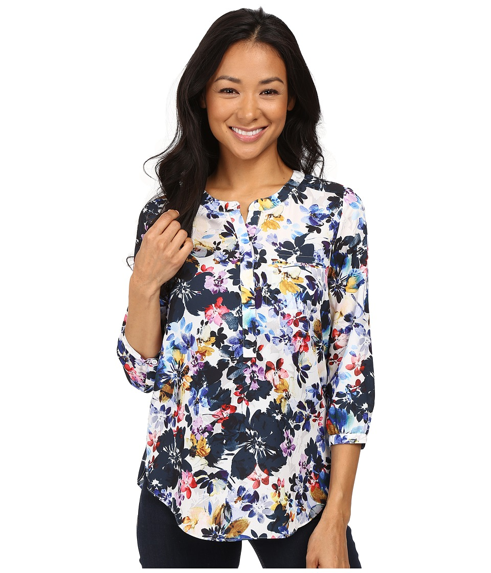 NYDJ Petite - Petite Solid 3/4 Sleeve Pleat Back (Hepburn Shadow Floral) Women