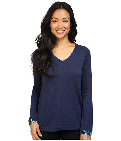 NYDJ Petite Petite Mixed Media V-Neck Sweater