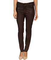 NYDJ Petite - Petite Alina Leggings Jeans in Faux Leather Coating in Mahogany/Brown Leather Coating