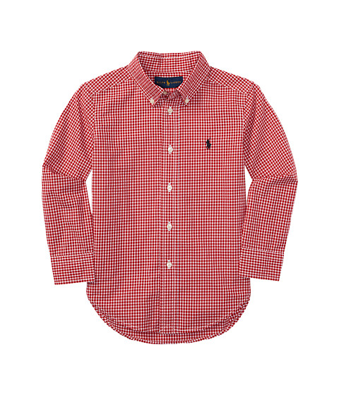 Polo ralph lauren kids yarn dyed poplin long sleeve button for Red and white button down shirt