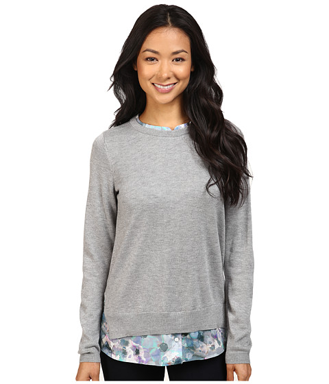 NYDJ Petite Petite Mixed Media Crew Neck Sweater