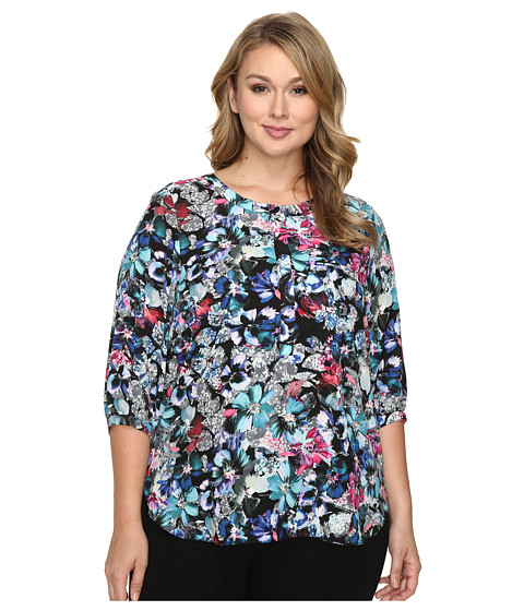 NYDJ Plus Size Plus Size Solid 3/4 Sleeve Pleat Back