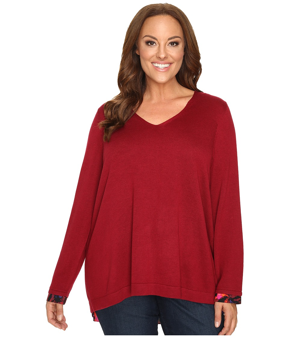 NYDJ Plus Size - Plus Size Mixed Media V-Neck Sweater (Carmine Promise) Women