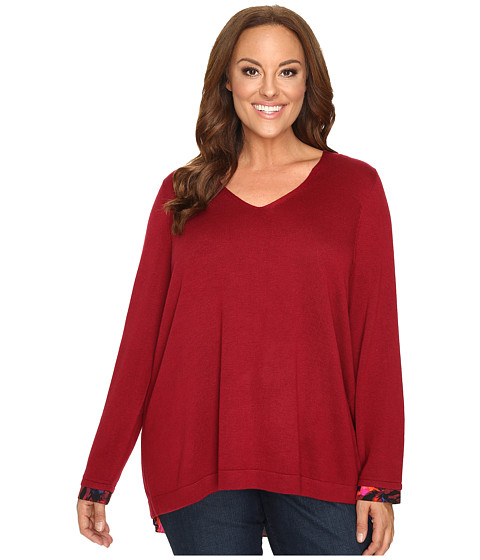 NYDJ Plus Size Plus Size Mixed Media V-Neck Sweater