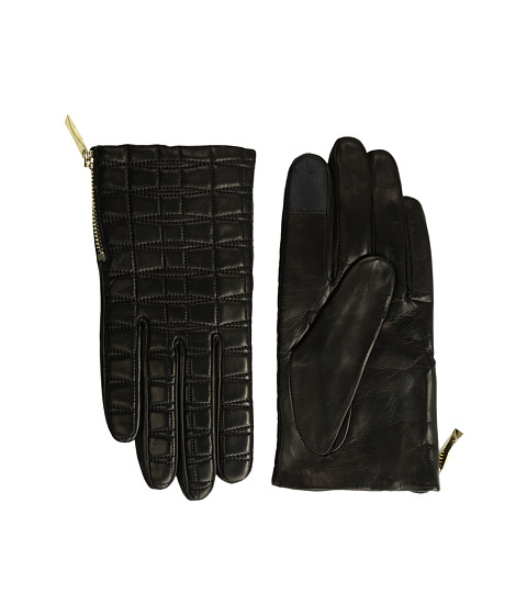 Kate Spade New York Bow Quilted Gloves with Side Zipper