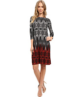 London Times - Tribal Diamond 3/4 Sleeve Shift Dress