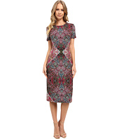 London Times - Foulard Carpet Short Sleeve Sheath Dress