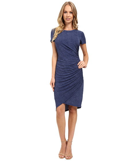 London Times Short Sleeve Ruched Sheath Dress