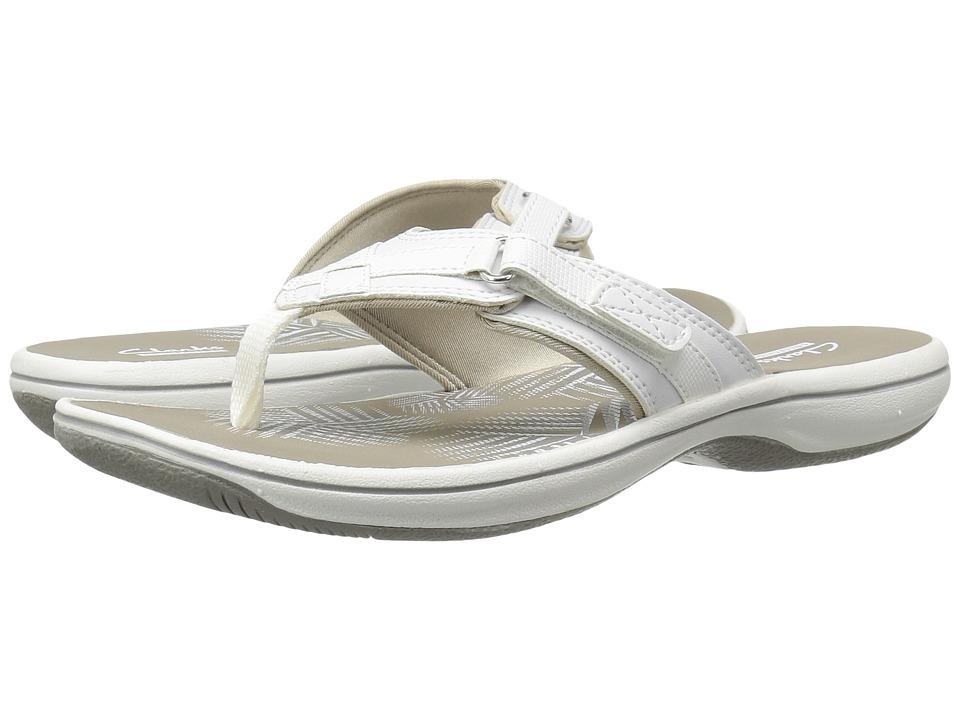Clarks Breeze Sea (White Synthetic) Women's Sandals
