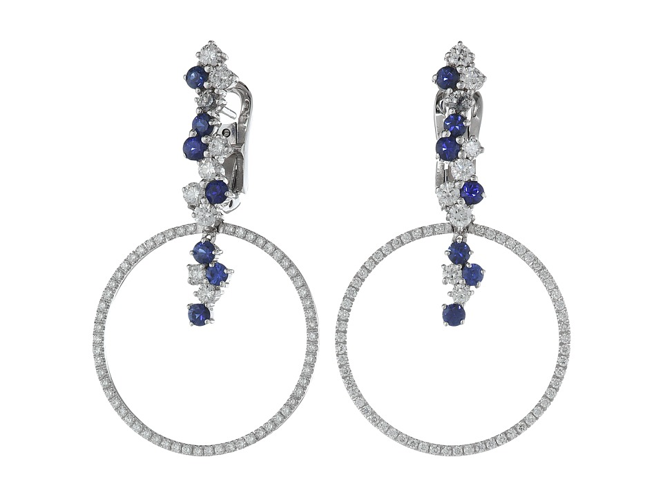 Miseno - Vesuvio 18k Gold/Sapphire Earrings (White Gold) ...