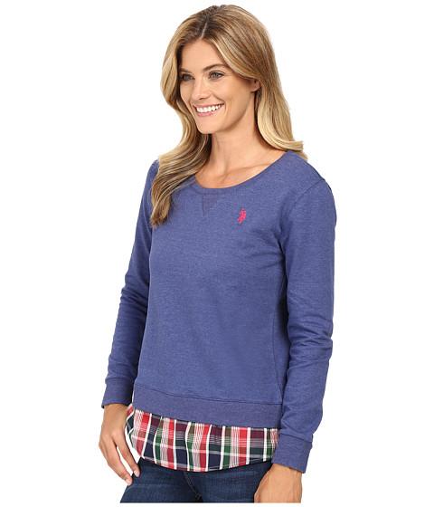 U s polo assn crew neck sweater twofer shirt with plaid for Crew neck sweater with collared shirt