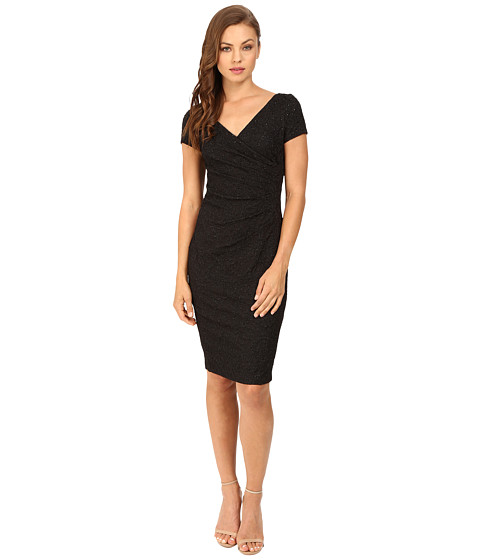 Adrianna Papell Wrap Front Jacquard Dress