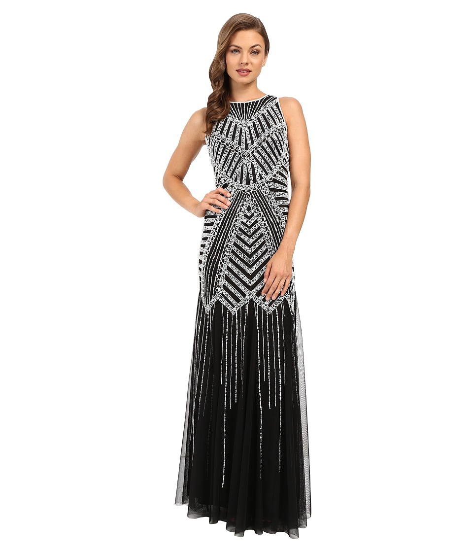 Adrianna Papell - Halter Beaded Godet Gown BlackWhite Womens Dress $369.00 AT vintagedancer.com