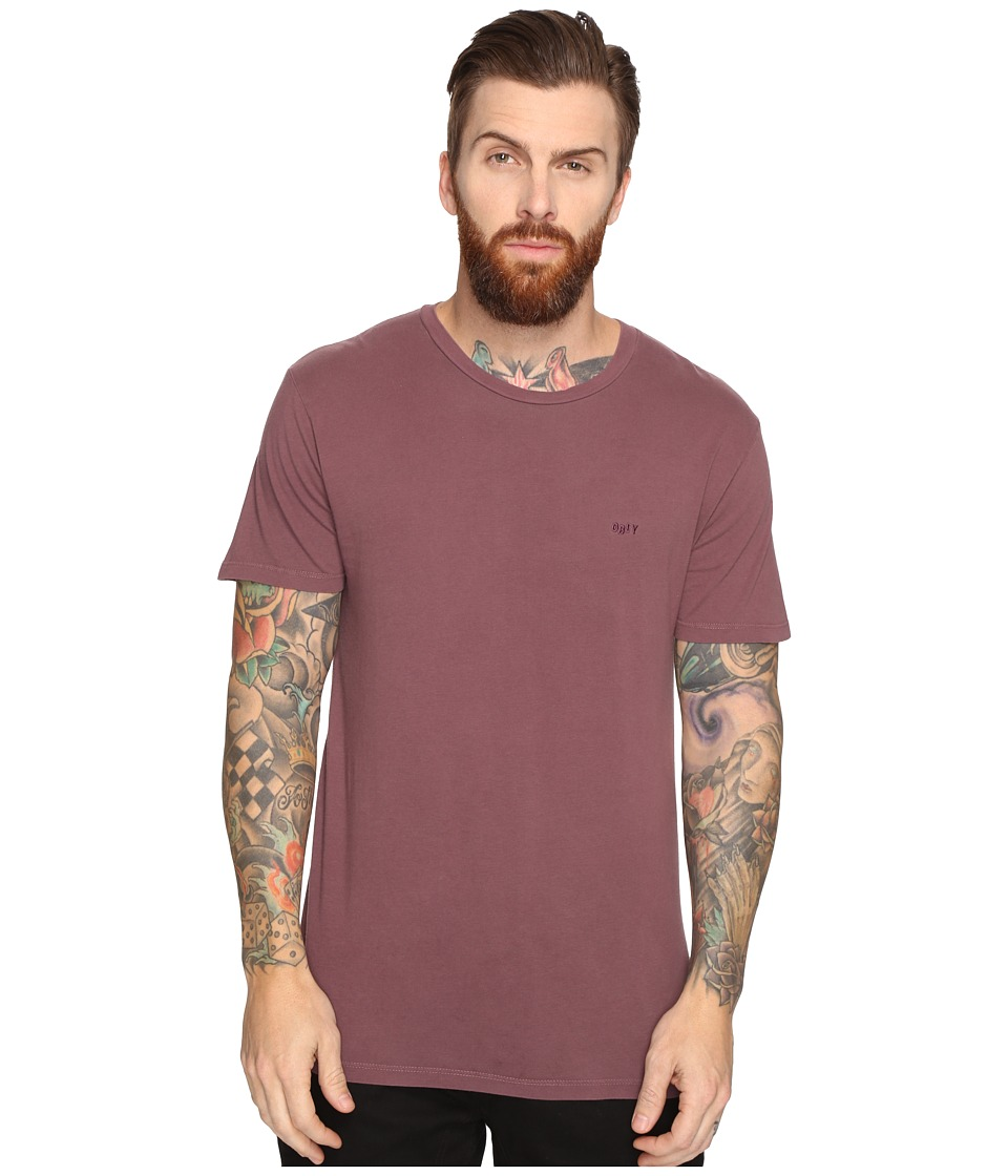 Obey Jumbled Short Sleeve Pigment Tee (Deep Burgundy) Men