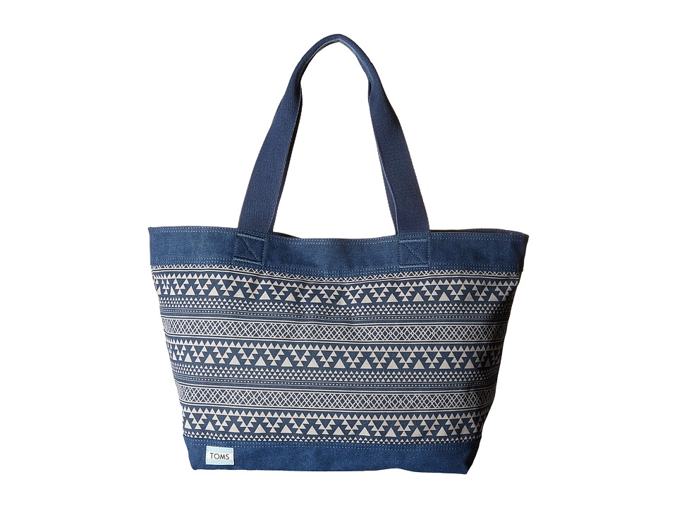 TOMS - Tribal Geo Canvas Tote (Navy) Tote Handbags