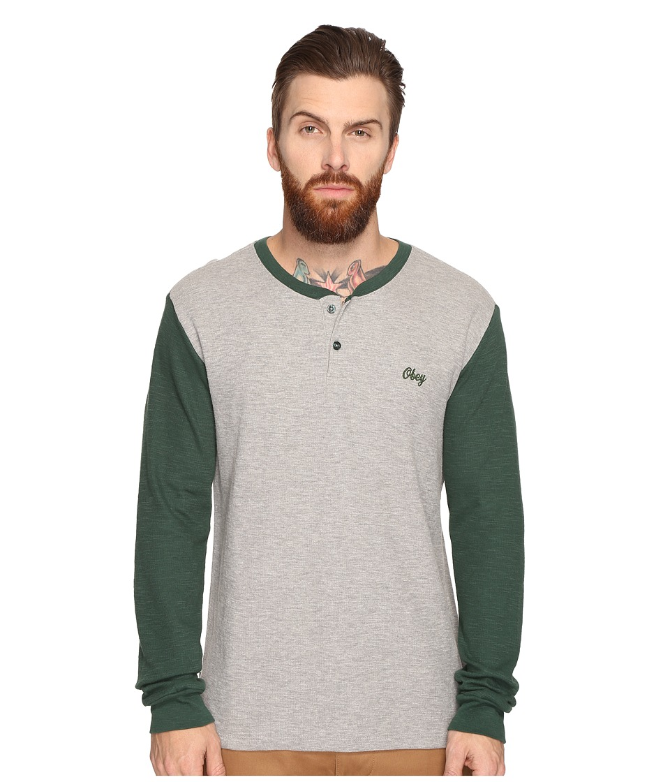 Obey Note Long Sleeve Henley (Heather Grey Multi) Men