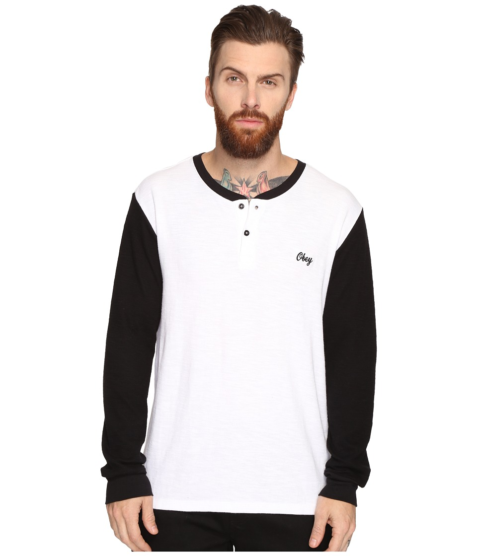 Obey Note Long Sleeve Henley (White Multi) Men