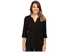 Petite Knit Henley Blouse with Convertible Sleeve