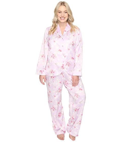 Carole Hochman Plus Size Packaged Brush Back Satin Pajama