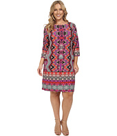 London Times - Plus Size Chevron Puzzle Long Sleeve Shift Dress