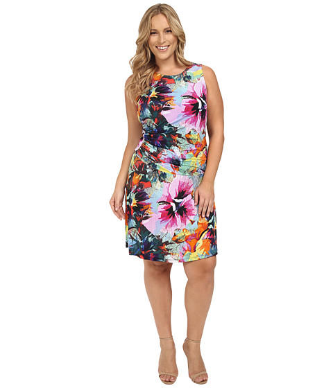 London Times Plus Size Pixel Bloom Ruched Fit and Flare Dress