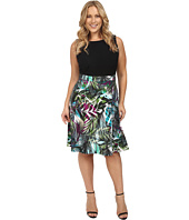 London Times - Plus Size Brush Jungle A-Line Skirt