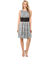 Sangria - Patterned Fit & Flare Dress w/ Lace Waist Detail