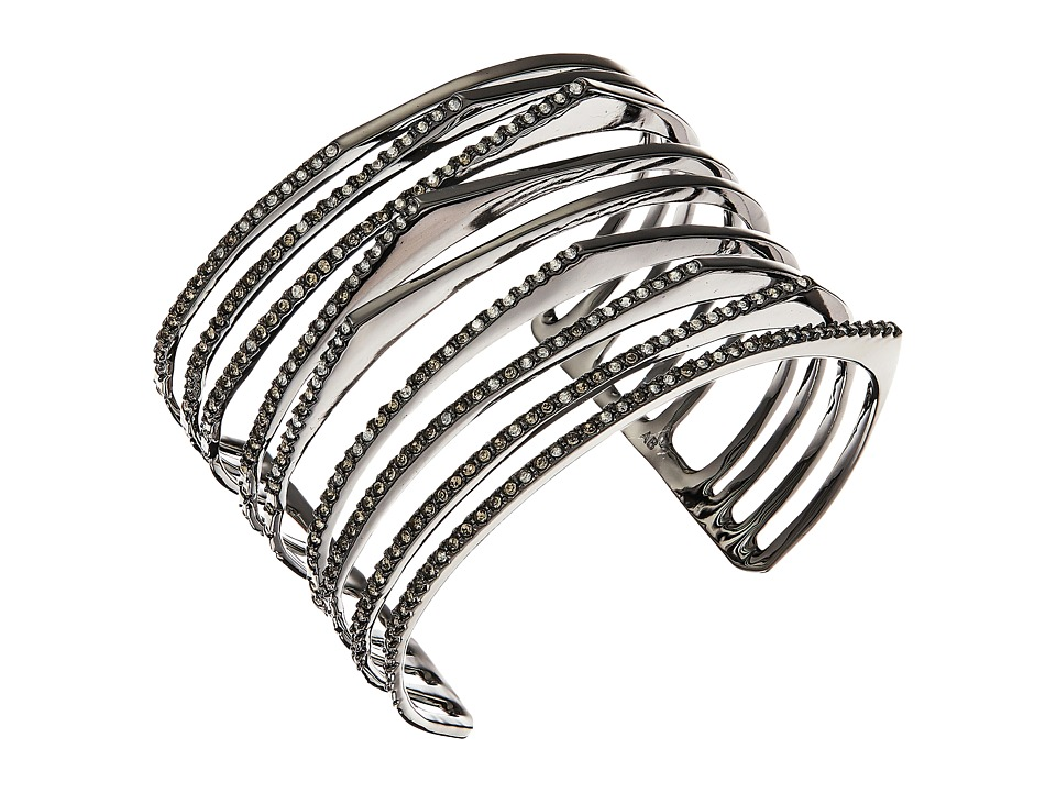 Alexis Bittar - Crystal Encrusted Origami Peeks Cuff Bracelet (Ruthenium) Bracelet