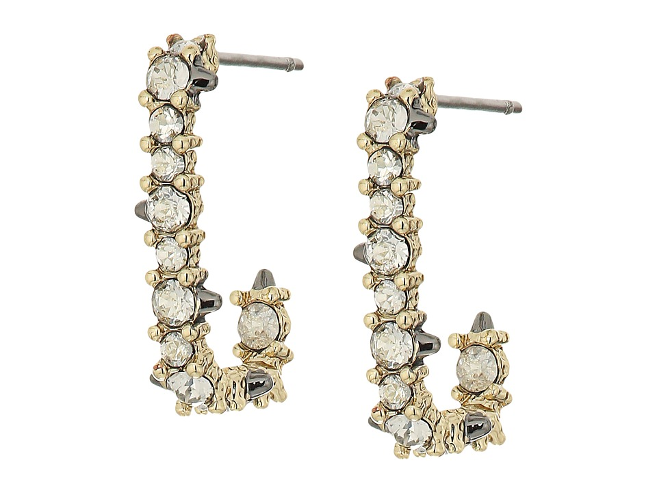 Alexis Bittar - Crystal Encrusted Mini Link Huggie Earrings (10K Gold) Earring