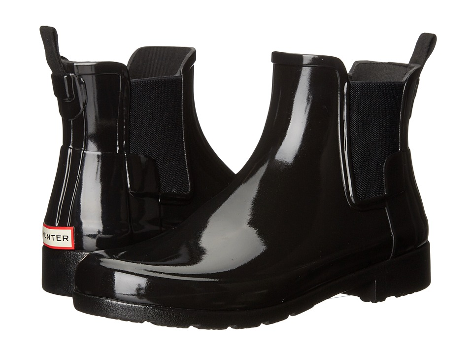 Hunter - Original Refined Chelsea Gloss (Black) Womens Rain Boots