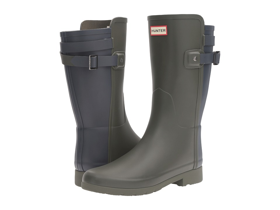 Hunter Original Short Refined Back Strap Rain Boots (Dark Olive/Navy) Women