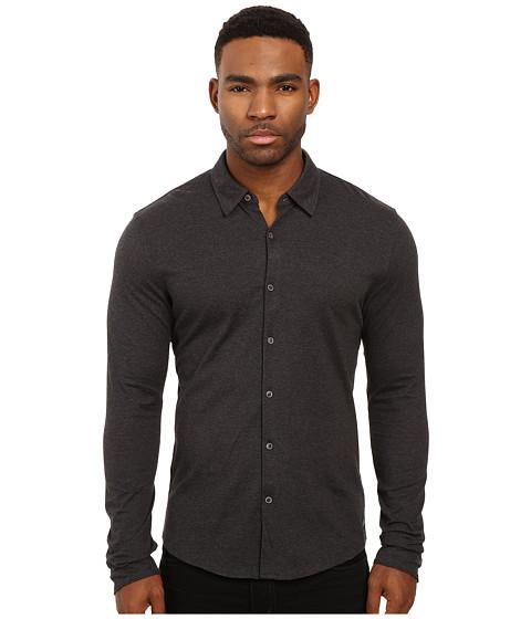Scotch & Soda Long Sleeve Shirt in Shiny Cotton Jersey Quality - Graphite Melange