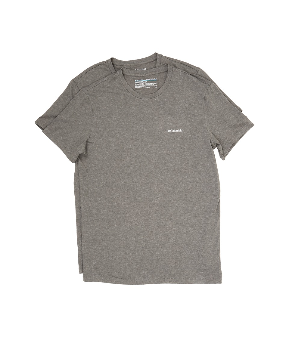 Columbia Performance Cotton Crew T-Shirt 2-Pack (Dark Grey Heather) Men
