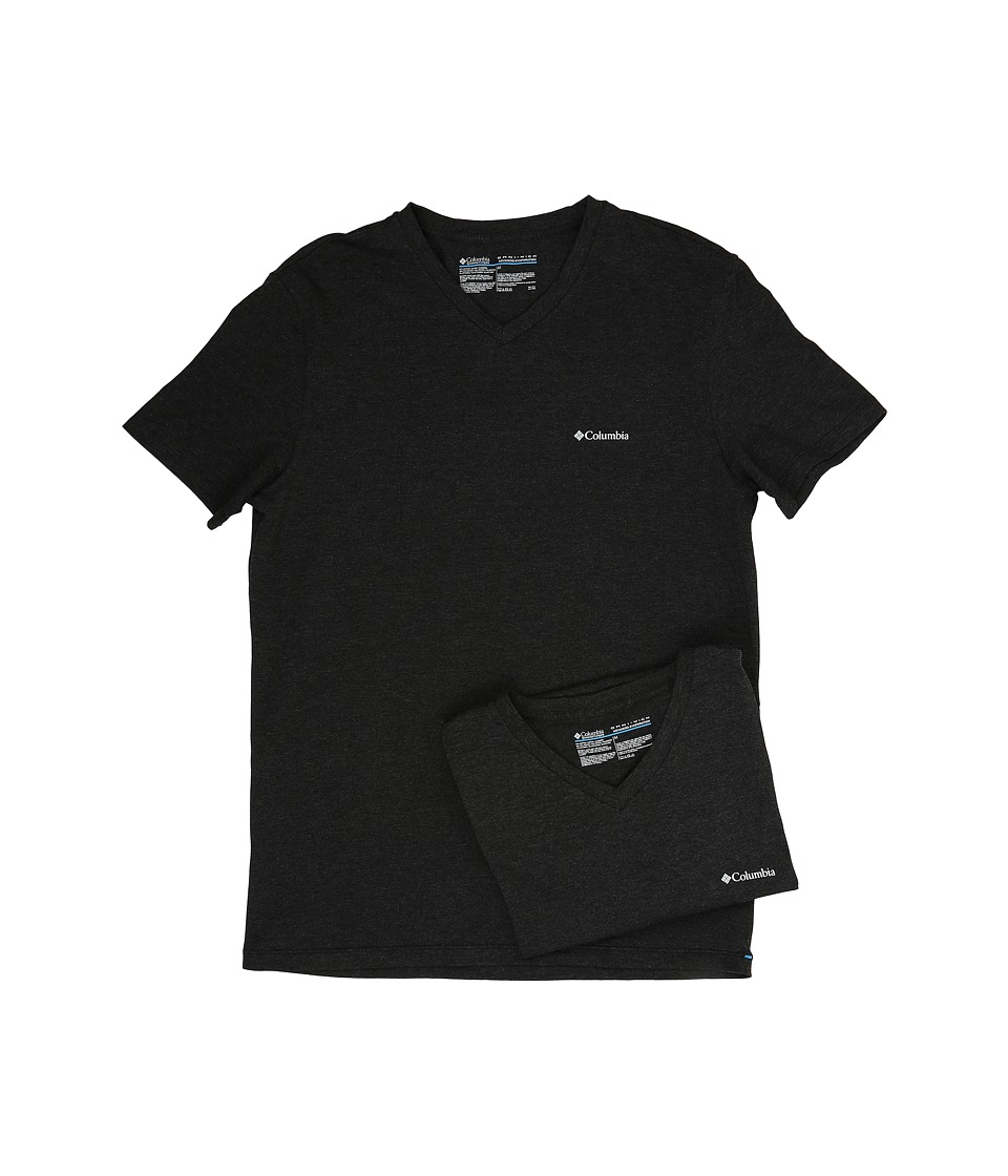 Columbia Performance Cotton V-Neck T-Shirt 2-Pack (Black Charcoal) Men