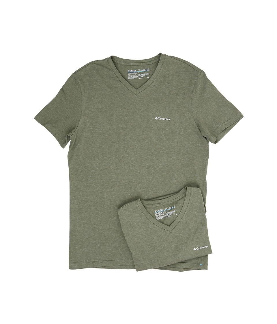 Columbia Performance Cotton V-Neck T-Shirt 2-Pack (Dusty Olive) Men