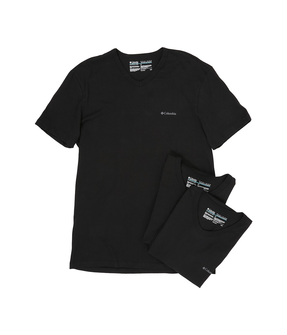 Columbia 100% Cotton V-Neck T-Shirt 3-Pack (Black) Men