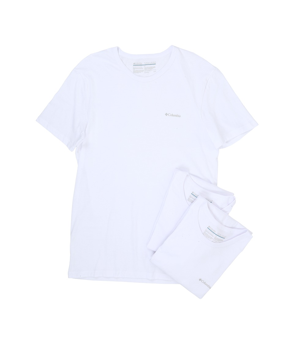 Columbia 100% Cotton Crew T-Shirt 3-Pack (White) Men