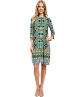 London Times - Chevron Puzzle Long Sleeve Shift Dress