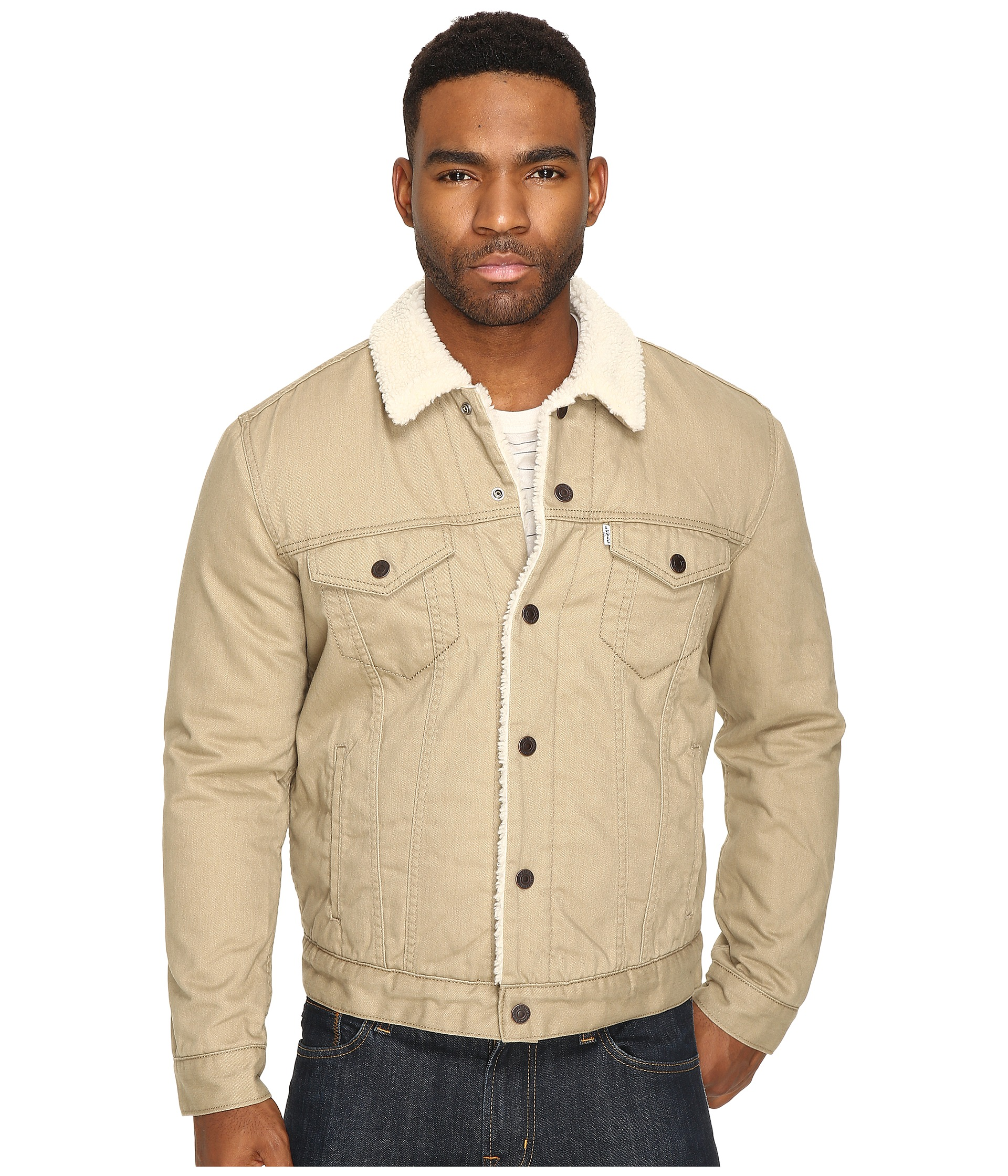 levi 39 s mens type iii sherpa trucker jacket lead grey distressed flannel free. Black Bedroom Furniture Sets. Home Design Ideas