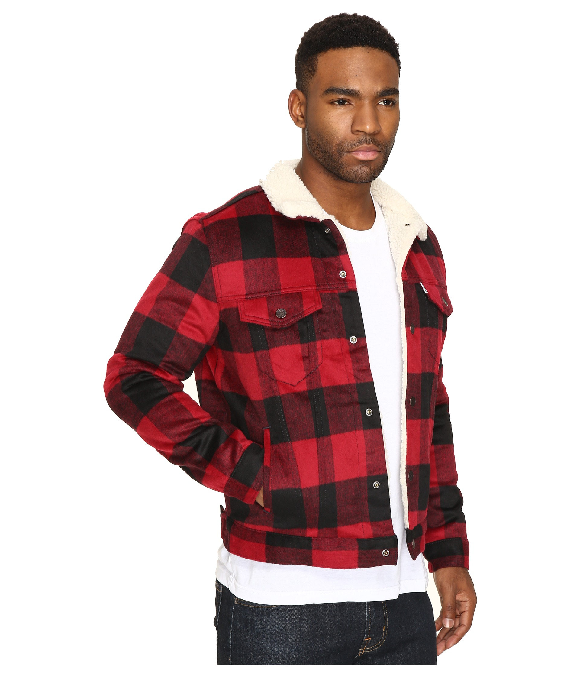LevisR Mens Type III Sherpa Trucker Jacket Curcuma Red Plaid