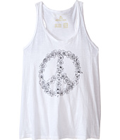 The Original Retro Brand Kids - Floral Peace Sign Racerback Tank Top (Big Kids)